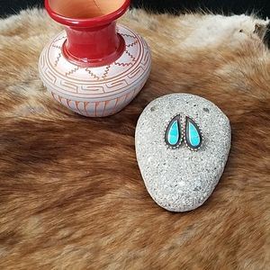 Turquoise and Sterling Silver Tear Drop Post Earri